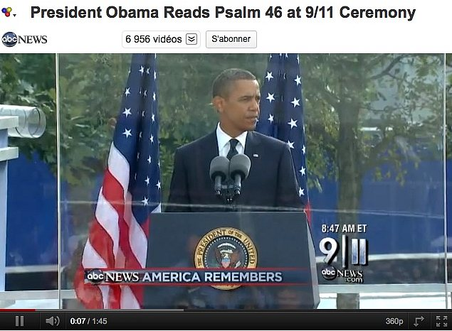 Le président Obama lit le Psaume 46 aux cérémonies du 9/11