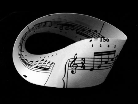Ligne de partition musicale inscrite sur le côté d'un ruban de Möbius