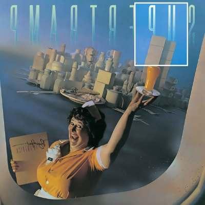 """""""Breakfast in America"""" ou """"Petit déjeuner en Amérique"""" par le groupe Supertramp  pochette vueen symétrie horizontale ou en miroir"""