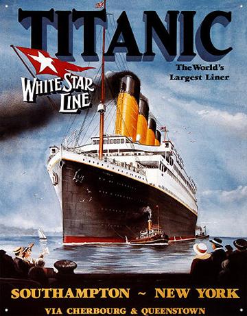 Affiche présentant le premier voyage du Titanic