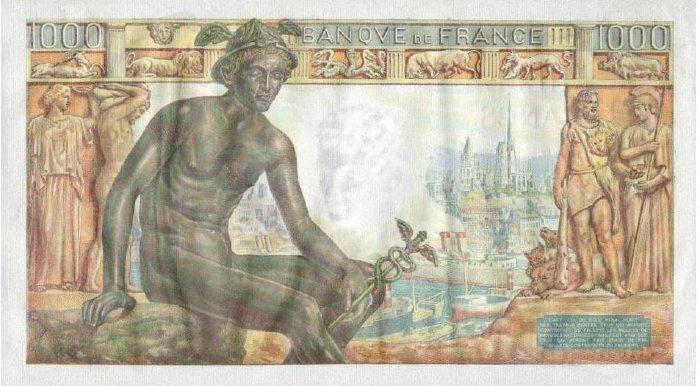 Billet de 1000 fr. émis par la Banque de France entre mai 42 et janvier 44