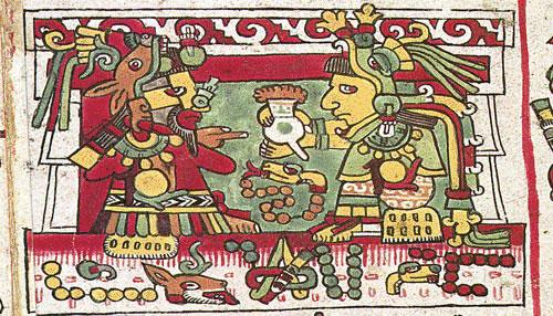 Rois mixtèques buvant du chocolat. (représentation tirée du Codex Zouche-Nuttall).