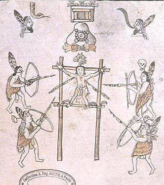 Sacrifice à coups de flèches (Historia tolteca-chichimeca, folio 28r).
