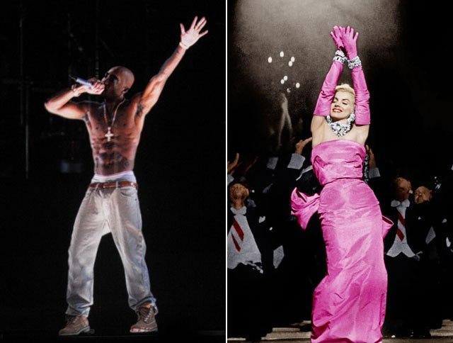 """A gauche, l'hologramme de Tupac se produisant à Coachella (Indio), Californie, le 15 Avril 2012,   et à droite une capture de M. Monroe extraite du film """"les hommes préfèrent les Blondes (1953)."""