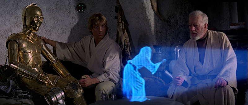 """Hologramme historique extrait du film """"Star Wars"""" de G. Lucas  Princesse Leia demandant de l'aide à Obi-Wan/Kenobi"""