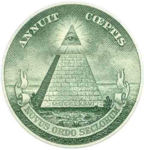 Détail du sceau des Etats-Unis sur le billet de 1 Dollar US