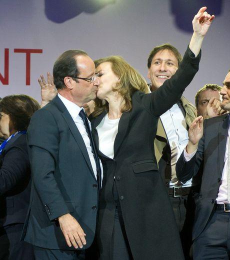 François Hollande et V. Trierweiler au Jour de sa victoire en Mai 2012...
