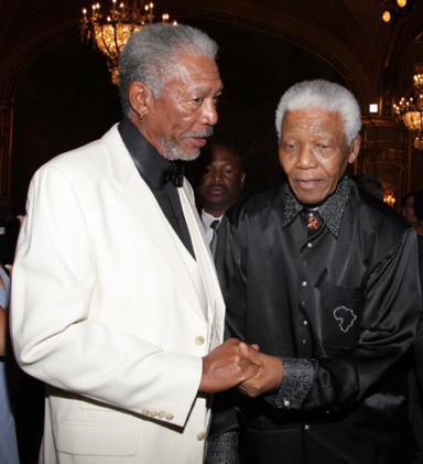 Morgan Freeman et Nelson Mandela