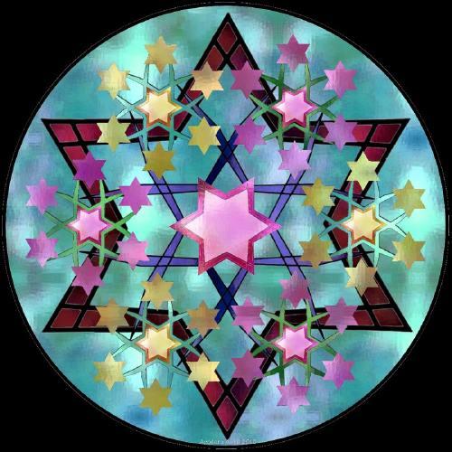 Mandalaconstruit sur l'hexagramme
