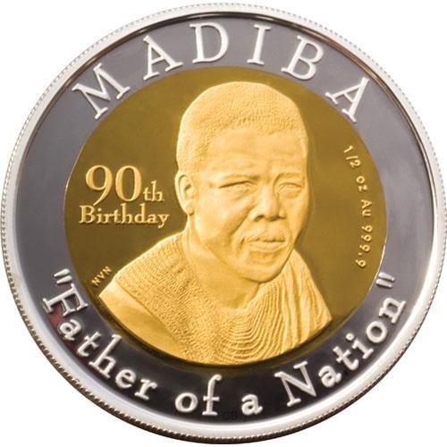 Madiba, Père d'une Nation   Pièce commémorative du 90e anniversaire de Nelson Mandela