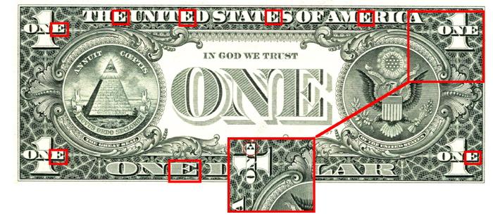 Face du Dollar US commentée